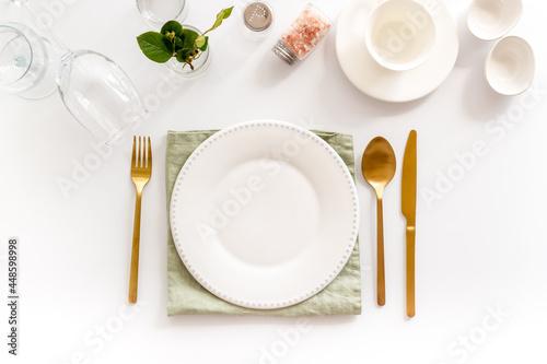 Canvas Print Eating utensil set - table setting for dinner with plate on napkin