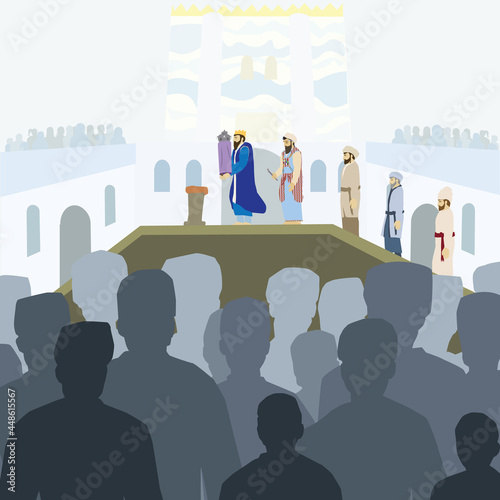 Fototapeta Assembling the Jewish People Vector drawing of dozens of men and women gathering in the Temple in Jerusalem