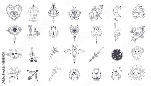 Fotografia Icon Mystic vector items, moon, hands, crystals, planets