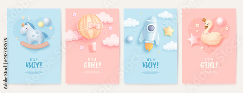 Fotografia Set of baby shower invitation with cartoon horse, swan, rocket and hot air balloon on blue and pink background