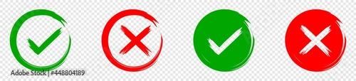 Fotografia Green check mark icon and red cross mark