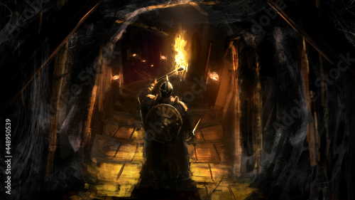 Fototapeta premium A knight in plate armor, a helmet with a sword and a shield holds a burning torch in his hand, standing at the entrance to a sinister dungeon , steps lead to the dark depths of the cave. 2d art