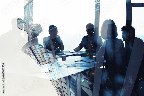 Background concept with business people silhouette at work