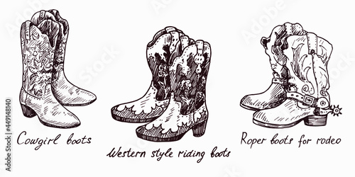 Fotografiet Cowgirl boots, Western style riding boots,Roper boots for rodeo, woodcutstyle in