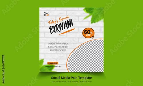 Fotografie, Obraz Today's Special Biriyani Banner - Social Media Post Template Design