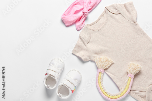 Canvastavla Baby clothes, toy, shoes and headband on white background