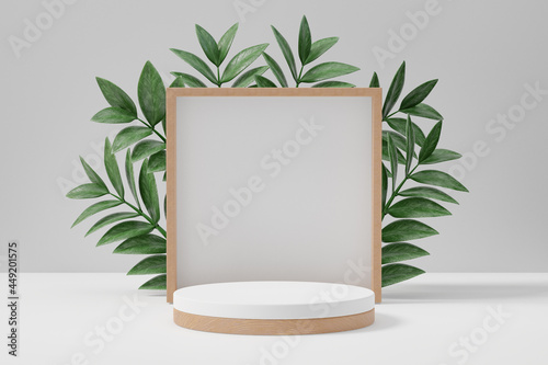 Fotografie, Obraz Cosmetic display product stand, Wood cylinder and square wall with green leaf background