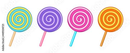 Stampa su Tela Swirl lollipop, spiral candy set vector illustration isolated