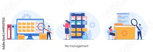 Carta da parati File management administration, data filing concept, flat illustration vector