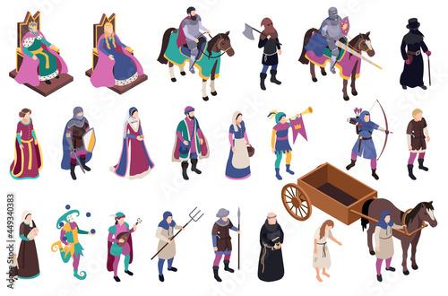 Obraz na płótnie Medieval Characters Icons Set