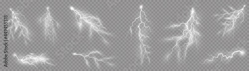 Fotografia Set of zippers, thunderstorm and effect lightning.