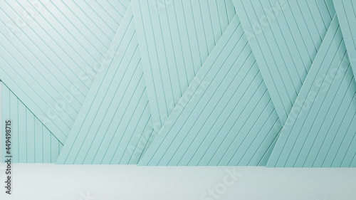 Foto 3D rendering of The backdrop for displaying products is a blue slatted background