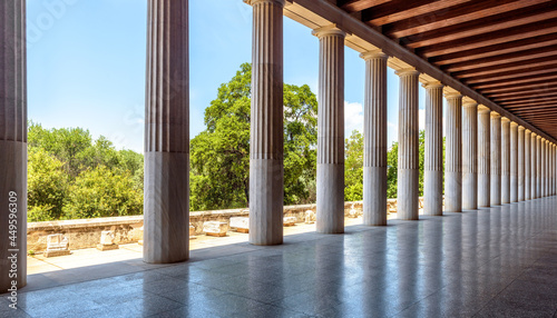 Canvastavla Classical building in ancient Greek Agora, Athens, Greece