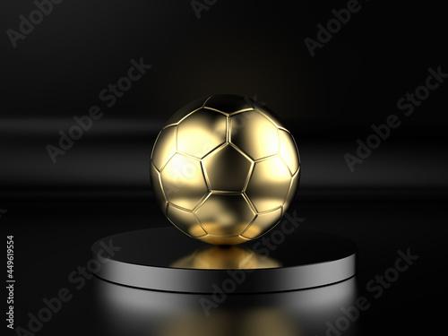 Obraz na plátně golden soccer ball on black background