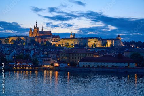 Fotografie, Obraz Prague Castle and Vltava river at dusk