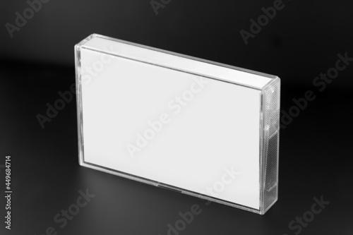 Foto Blank compact cassette tape box design mockup view