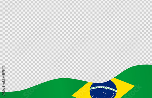 Fototapeta Waving flag of Brazil isolated  on png or transparent  background,Symbol of Braz
