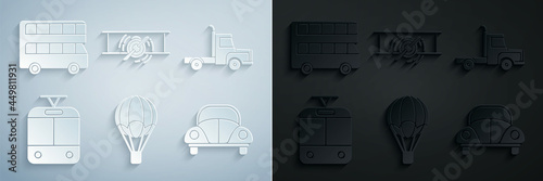 Set Hot air balloon, Delivery cargo truck vehicle, Tram and railway, Car Volkswagen beetle, Old retro vintage plane and Double decker bus icon Fototapet
