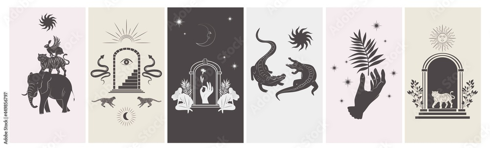 Collection of stories design template with astrology and mystical elements. Editable vector illustration. - obrazy, fototapety, plakaty