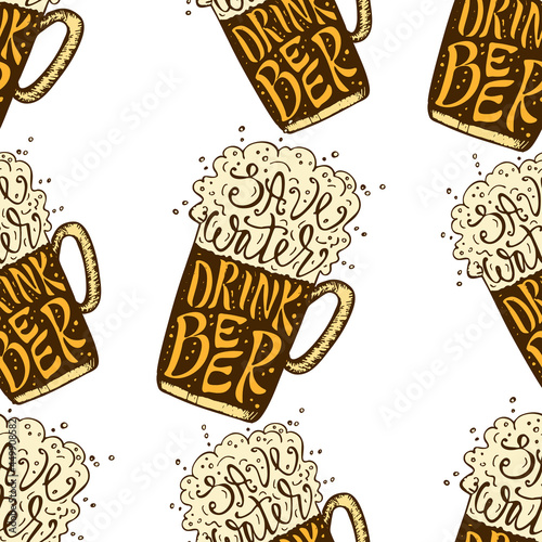 Canvas Drink Beer hand drawn lettering seamless pattern