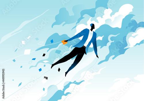 Slika na platnu Uomo che vola nel cielo tra le nuvole diffondendo informazioni