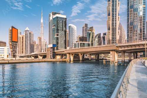 Tela Scenic view of high skyscrapers with offices, hotels and residential buildings in UAE