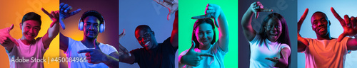 Flyer. Collage of portraits of young people showing frame gestures isolated over multicolored backgrounds in neon light.
