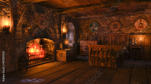 Fotografia 3D illustration of an old medieval bedroom with open fireplace and burning fire