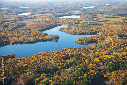 Fotografie, Obraz Aerial view of lakes and forest in autumn color near Brainerd, Minnesota