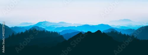 Fotografia Blue landscape background banner panorama illustration -