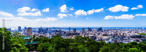 Fotografia, Obraz 神戸市 俯瞰 パノラマ 【 夏 の 都市風景 】