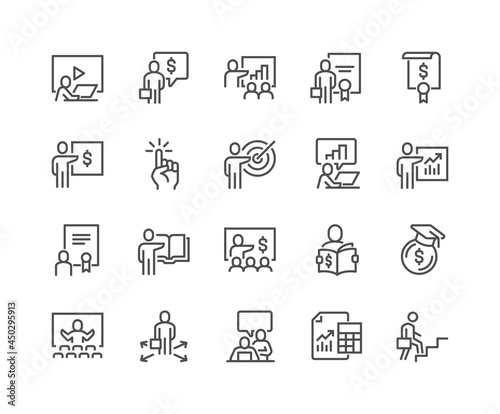 Photo Simple Set of Business Training Related Vector Line Icons