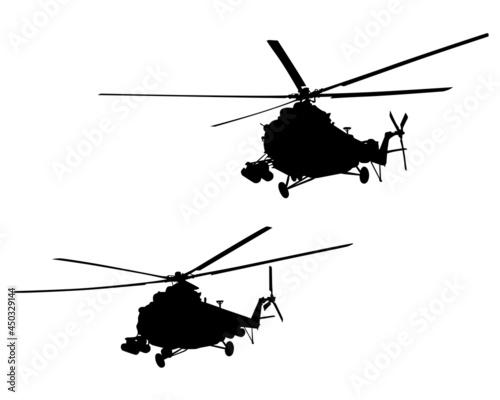 Murais de parede War helicopter flies across the sky