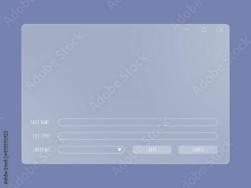 Fotografia System file explorer window of translucent frosted glass