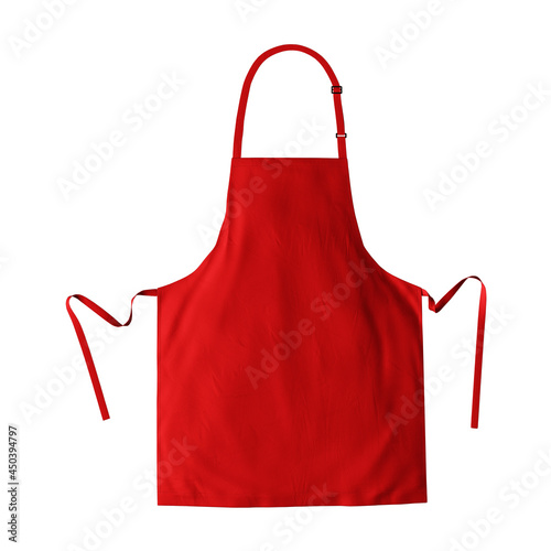 Murais de parede Make your fantastic design or logo artistic with this Luxurious Apron Mockup In Fiery Red Color