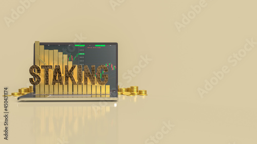 Slika na platnu staking text on notebook for currency or business concept 3d rendering