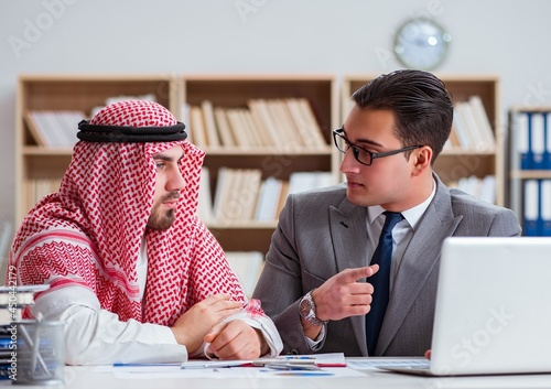 Tela Diverse business concept with arab businessman
