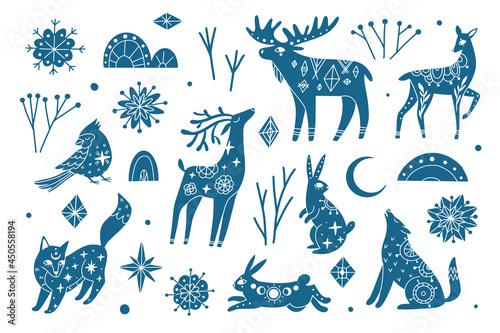 Obraz na plátně Winter collection of mystic blue animals