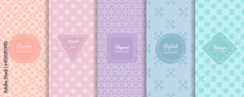 Vector minimalist seamless patterns collection. Set of simple bright colorful backgrounds with elegant minimal labels. Abstract geometric floral textures. Trendy color palette, pink, lilac, blue, mint