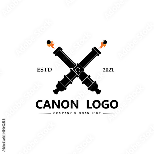 Canvas cannon logo vector icon, army war weapon, bomb, explosive device, royal guard, r