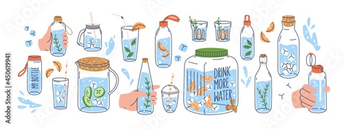 Set of line art glass, bottle, jug, jar dispenser and flask with clean water. Aroma healthy drink with fruit pieces, cucumber, mint and ice. Flat vector illustration isolated on white background