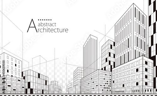 Vászonkép 3D illustration Imagination modern urban landscape background,architecture building construction perspective design drawing