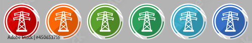 Fotografie, Obraz Power, energy tower icon set, vector illustration in 6 colors options for webdes
