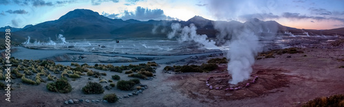 Billede på lærred Panoramic view of El Tatio geyser field in the Andes Mountains of northern Chile