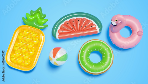 Fotografie, Obraz 3d swim pool float toys