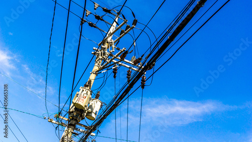 Obraz na plátně Electric line wires and pole in South Korea