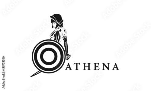 Canvas Print Premium vector logo Athena God design template, ancient logo, lady warrior logo
