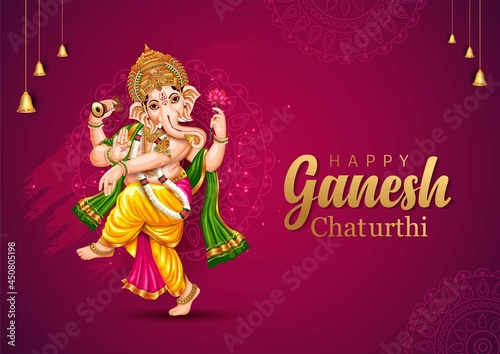 Canvas Print happy Ganesh Chaturthi greetings. vector illustration design.