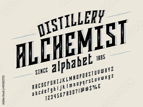 Vintage label style alphabet design with uppercase, lowercase, numbers and symbo Fototapeta