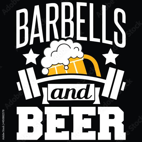 barbells and beers fun beer lover drinking trucker cap vector design illustratio Fototapet